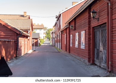 Red timbered houses in Sater in Sweden