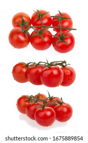 red tomato cherry set isolated on white background