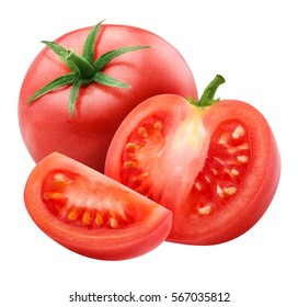 red tomato isolated on white background with clipping path