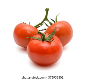 Red tomato isolated in white background