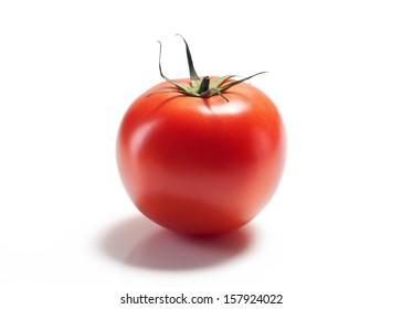 red tomato on white background