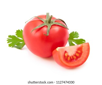 Red tomato, tomato slices and cilantro isolated on white background.