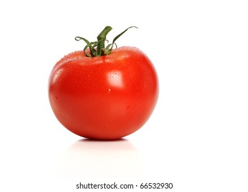 Red Tomato with water drops isolated on a white background