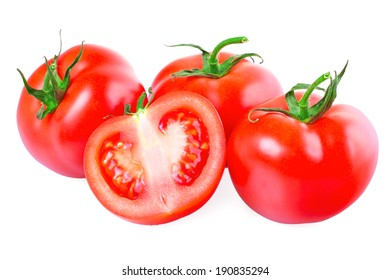 Red tomatoes on a white background, isolated