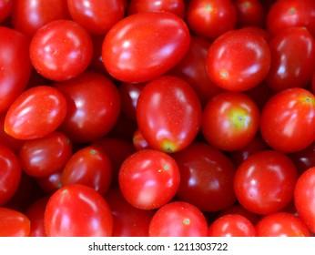Red Tomatos, Cherry Tomatos on a Market