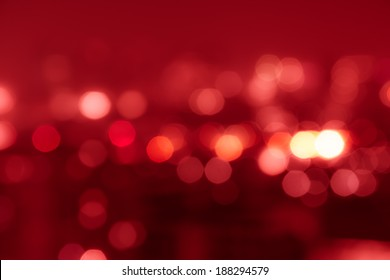 Red tone blur bokeh light. Defocused  background.