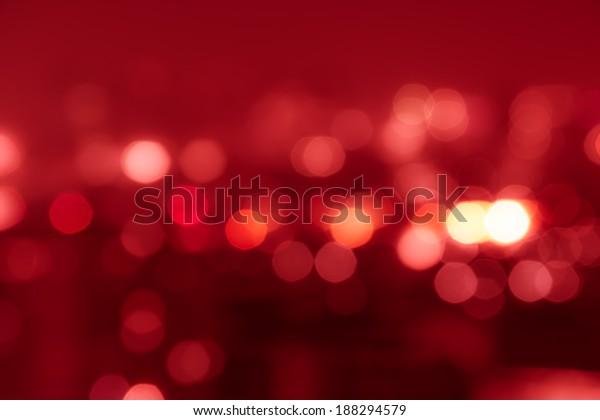 Red tone blur bokeh light. Defocused  background.