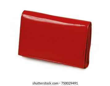 The red tone leather wallet isolated over white background