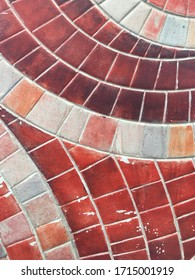 Red tone mosaic wall decorative ornament. Mosaic as decorative background