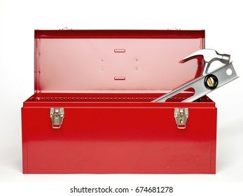 Red tool box isolated on white background