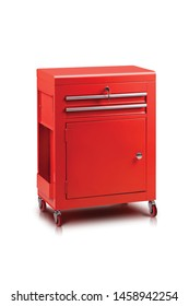 red tool cabinet on white background