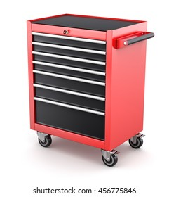 Red tool cabinets on white background - 3D illustration