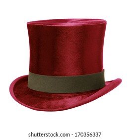 Red Top Hat with brown band, isolated against white background
