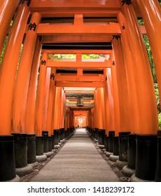 Red tori gate at Fushimi Inari Shrinei in Kyoto, Japan. May 31 2019. It is normally path in Fushimi Inari.