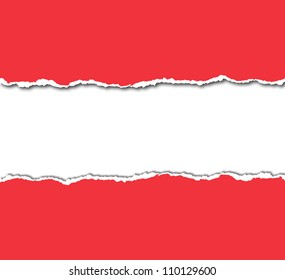 red torn paper with white copy space