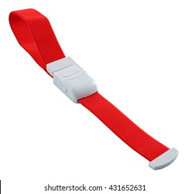 Red tourniquet band on a white background