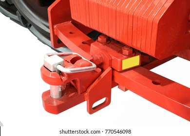 Red towbar with a lock. Isolated on white.