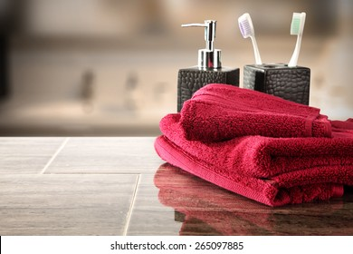red towels and brown space