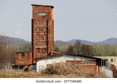 """Red Tower of Death, UNESCO site with inscription in Czech language """"Ruda vez smrti"""" a national monument in Dolni Zdar near Ostrov, Western Bohemia, Czech Republic - Shutterstock ID 1977184685"""