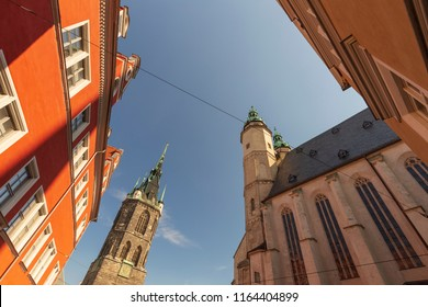 Red tower in halle Saale germany