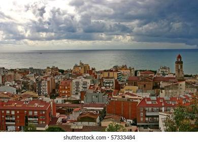 The red town near the dark blue sea