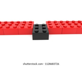 Red toy brick row with one black.3d illustration