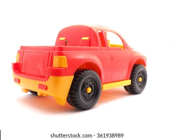 red toy car on a white background