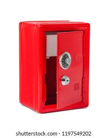 Red toy safe isolated on white background