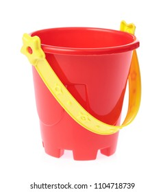 Red toy small bucket isolated on white background