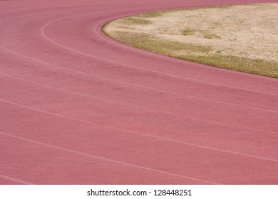 Red track and field used for competition and events