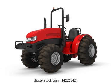 Red Tractor Isolated