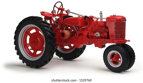 red tractor on white