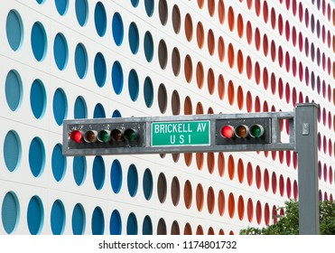 The red traffic light in Brickell Avenue in Miami downtown (Florida).
