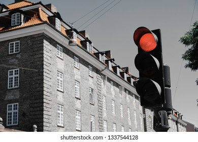 red traffic light in Copenhagen