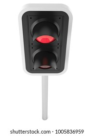 Red traffic light isolated on white background. 3d illustration