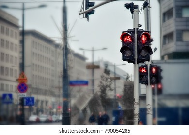 Red traffic light for pedestrians on the street