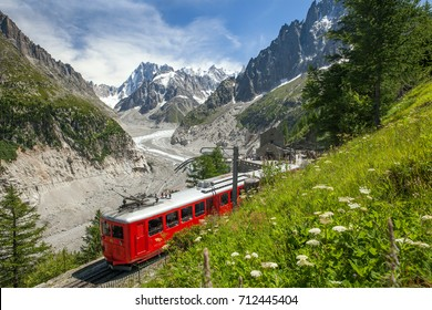 A red train in european Alps, France