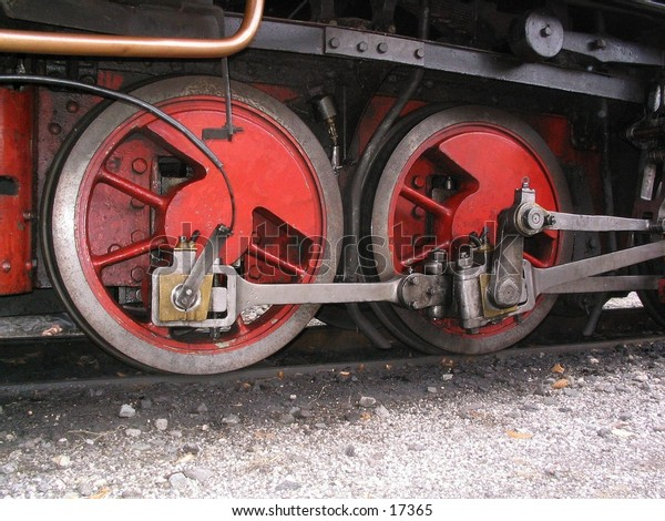 Red train wheels from old steam train