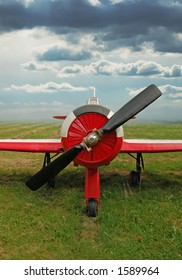 red training airplane