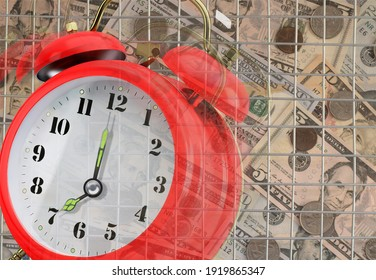 Red transparent alarm clock ringing as a tax deadline reminder symbol. Steel Bars as a symbol of prison for unpaid tax on time or concealing income from the Tax Office.