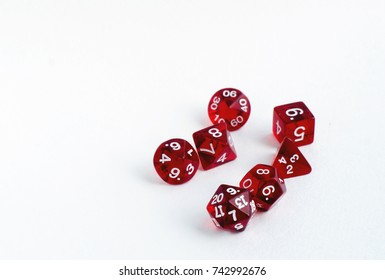 Red transparent dices for rpg, dnd or board games on white background