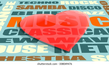 Red transparent heart shape on music genres words list backdrop. Background relative to valentines day