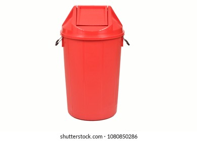 Red trash can (garbage bins) isolate on white background.
