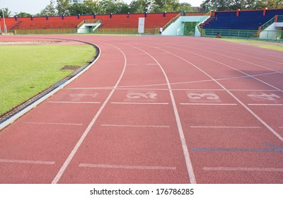 red treadmill at the stadium