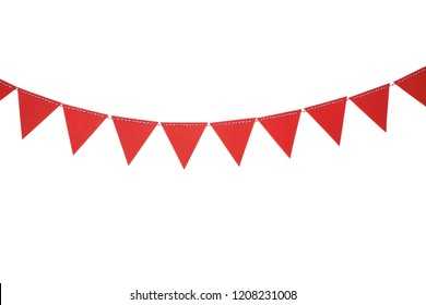 Red triangle flags hanging on white background. Christmas and new year celebration