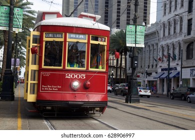 Red Trolly car in New Orleans on April 7 2017