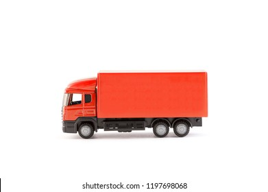 Red truck miniature on white background