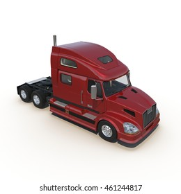 Red truck without a trailer on white 3D Illustration