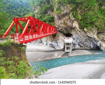 Red trusses bridge at Taroko National Park in Hualien Taiwan.