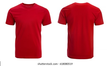 Red t-shirt, clothes on isolated white background